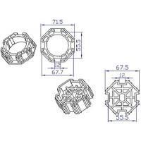 Koppelingset 8-kant, 70mm voor motor 45mm