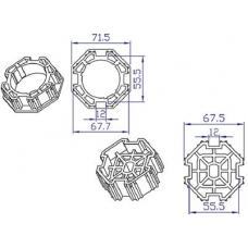 Koppelingset 8-kant, 70mm voor motor 45mm (100403) Toebehoren en Onderdelen by www.svn-systems.be